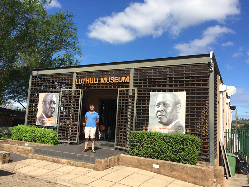 The documentation centre at the Luthuli museum, Groutville, opened in 2017. The museum itself is in Luthuli's house, behind the photographer. Steve Kotze in doorway. (Photo: John Wright)