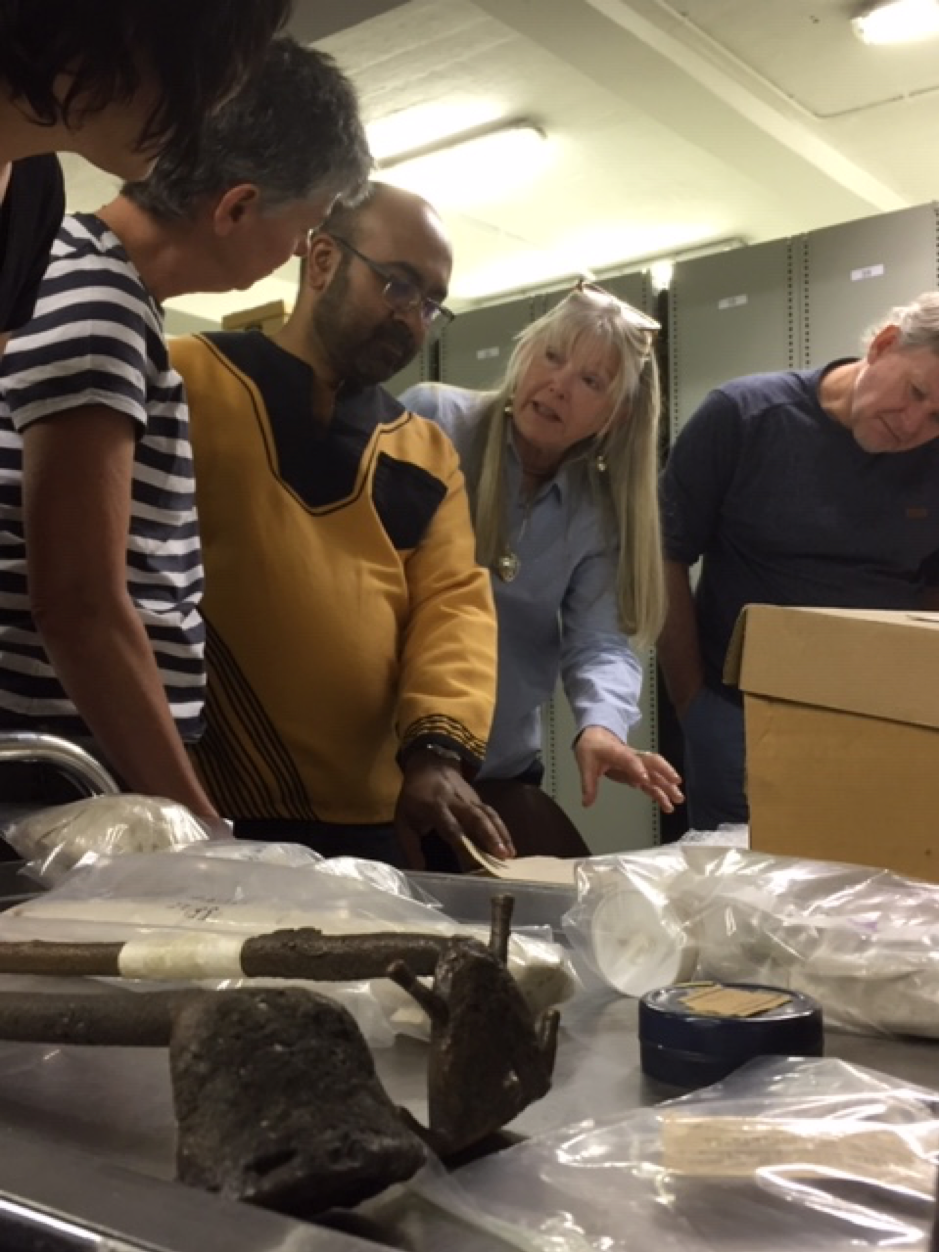 Justine Wintjes, Amanda Esterhuysen, Hussein Suleman, Carolyn Hamilton, Anton Coetzee in the stores of the WITS Archaeology Department.