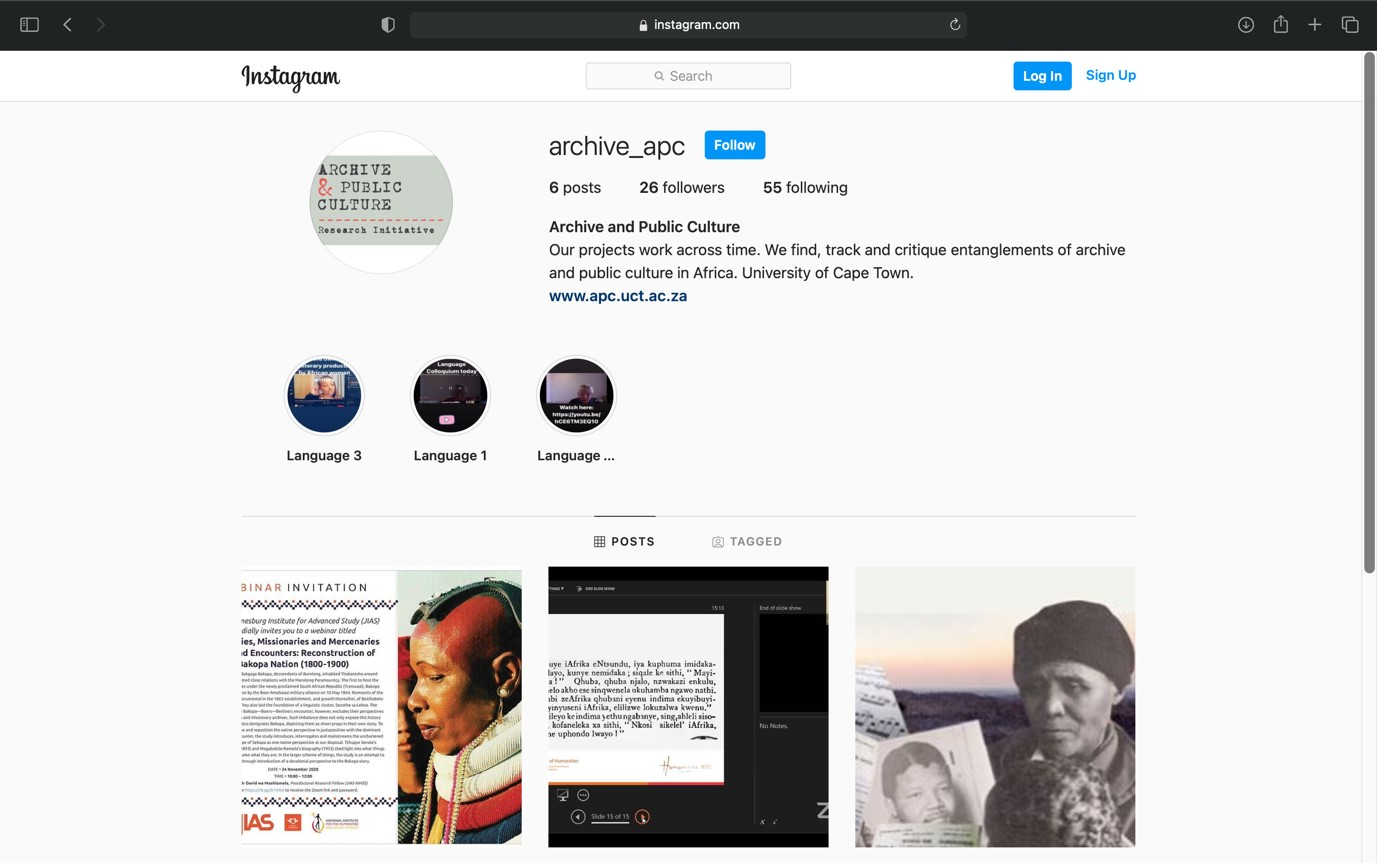 Screenshot of the APC's Instagram page.