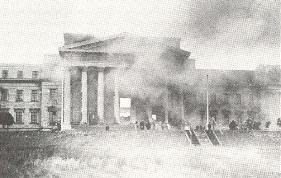 """Two images that ran in The Star newspaper on 24 December 1931 under the headline """"Disastrous Fire in Central Block of Rand University"""". A copy is held at Wits Department of Historical Papers, 1479, Box 7, 29/1400."""