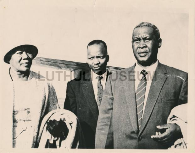 Nokukhanya Luthuli, M B Yengwa and Chief Albert Luthuli en route to Oslo, Norway to receive the Nobel Peace Prize for 1960 (1961) LutMus2005.01.179 Yengwa Collection, Luthuli Museum