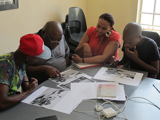 Vosloorus community members drew on archival material to remember Stirtonville, the area from which they were removed in the 1960's, to compile a land claim. Photo credit: Jo-Anne Duggan